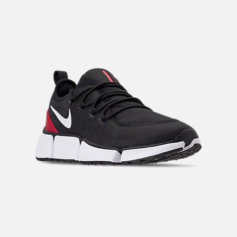 Three Quarter view of Men's Nike Pocket Fly DM Running Shoes in Black/White/Varsity Red
