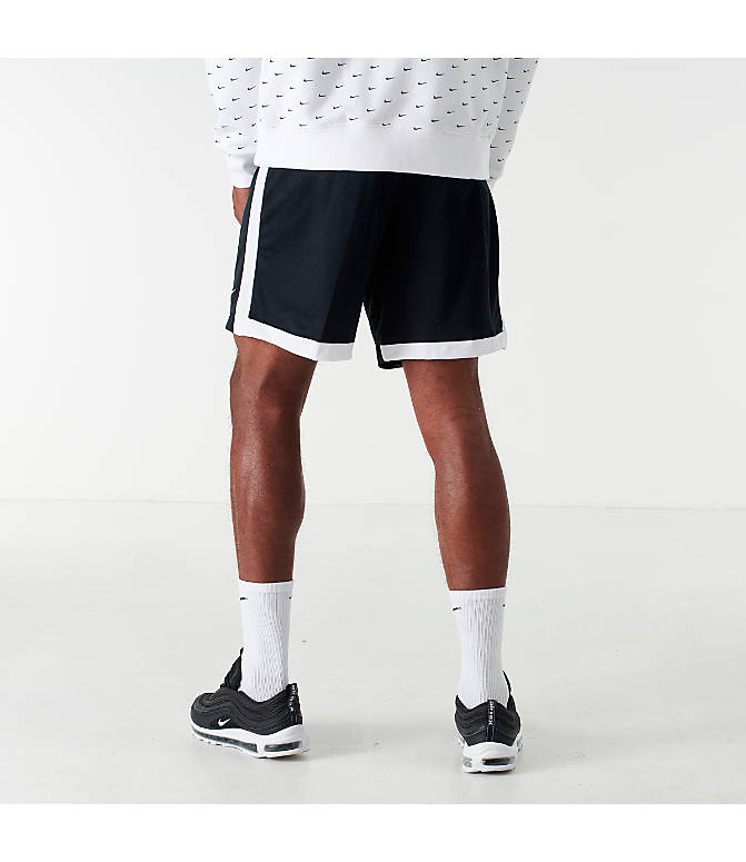 Back Left view of Men's Nike Dri-FIT Academy Soccer Shorts in Black/White