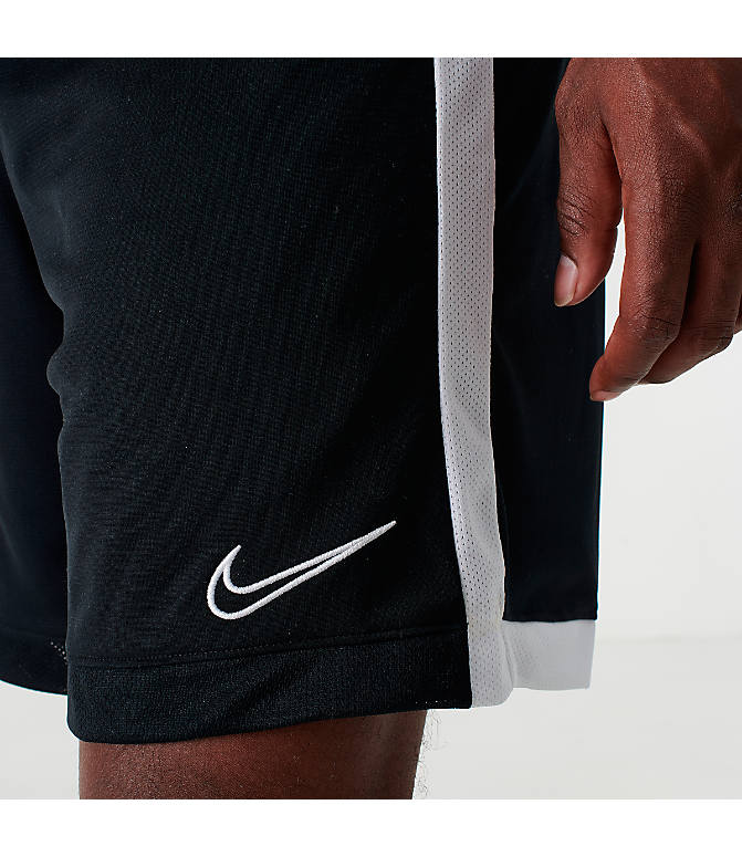 Back Right view of Men's Nike Dri-FIT Academy Soccer Shorts in Black/White