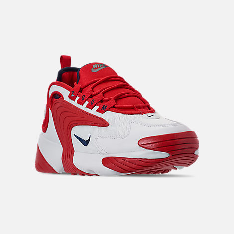 Three Quarter view of Men's Nike Zoom 2K Casual Shoes in White/Red
