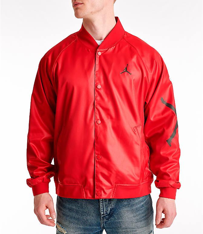 604ca3643808b6 Front Three Quarter view of Men s Jordan Jumpman Stadium Jacket in Gym  Red Black