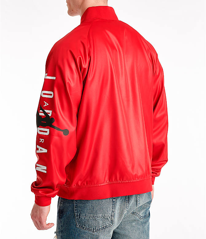 d2c1adada9cb45 Back Left view of Men s Jordan Jumpman Stadium Jacket in Gym Red Black