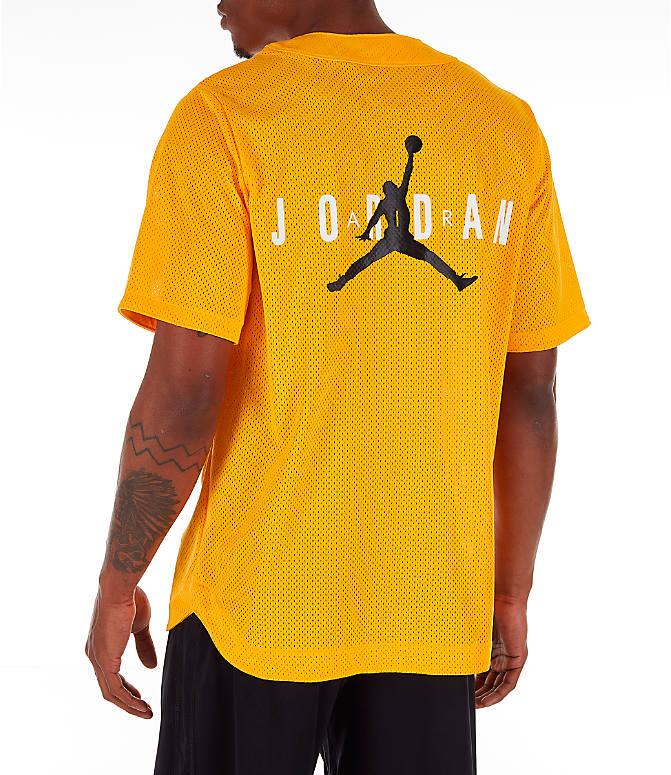 Front view of Men's Jordan Jumpman Mesh Button-Up Jersey in Yellow