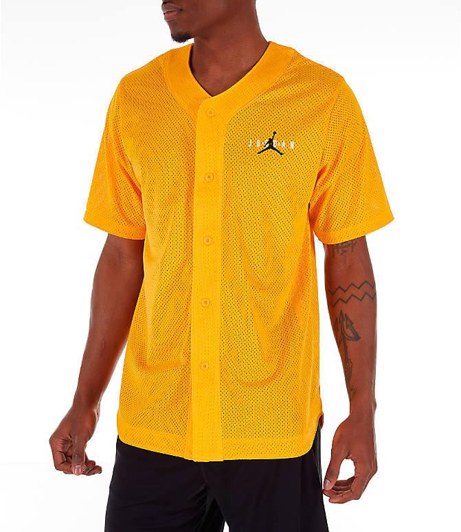 Front Three Quarter view of Men's Jordan Jumpman Mesh Button-Up Jersey in Yellow