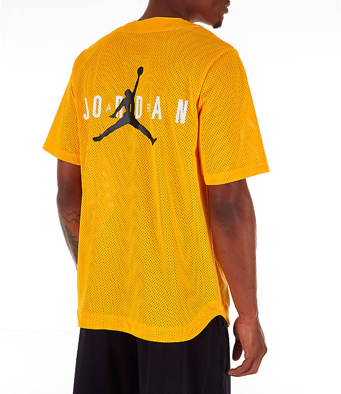 Back Left view of Men's Jordan Jumpman Mesh Button-Up Jersey in Yellow