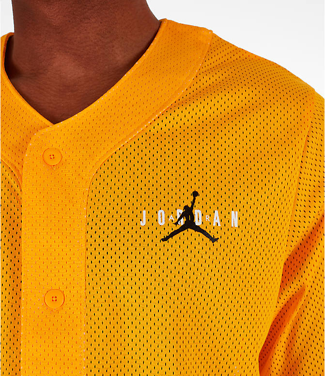 Back Right view of Men's Jordan Jumpman Mesh Button-Up Jersey in Yellow