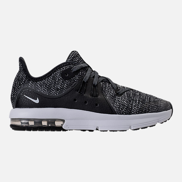 Right view of Boys' Preschool Nike Air Max Sequent 3 Running Shoes in Black/White/Dark Grey/Anthracite