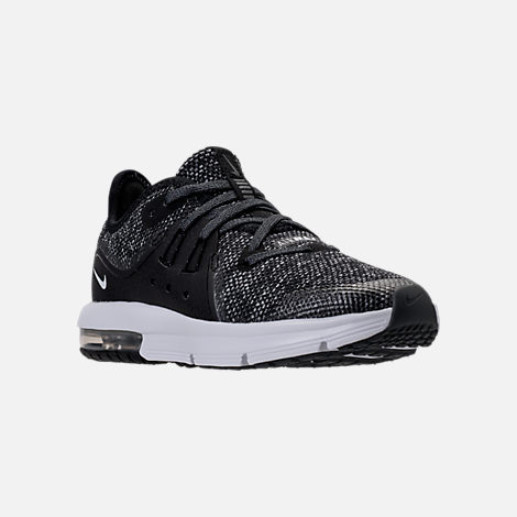 Three Quarter view of Boys' Preschool Nike Air Max Sequent 3 Running Shoes in Black/White/Dark Grey/Anthracite