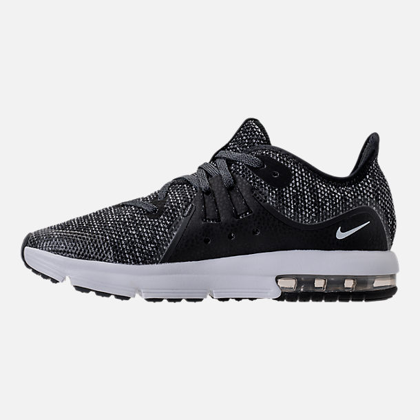 Left view of Boys' Preschool Nike Air Max Sequent 3 Running Shoes in Black/White/Dark Grey/Anthracite