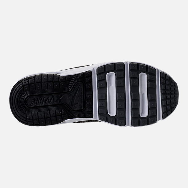 Bottom view of Boys' Preschool Nike Air Max Sequent 3 Running Shoes in Black/White/Dark Grey/Anthracite