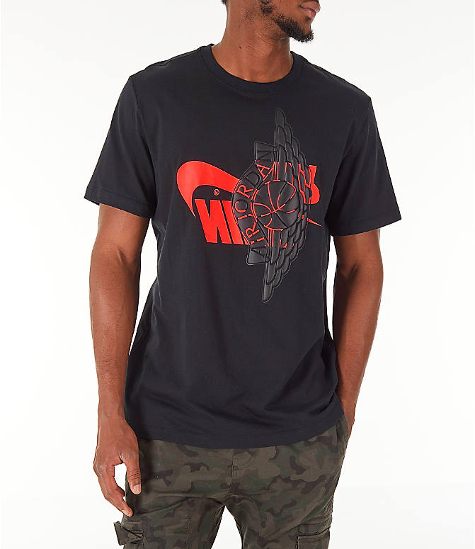 Detail 2 view of Men's Jordan Futura Wings T-Shirt in Black/Infrared