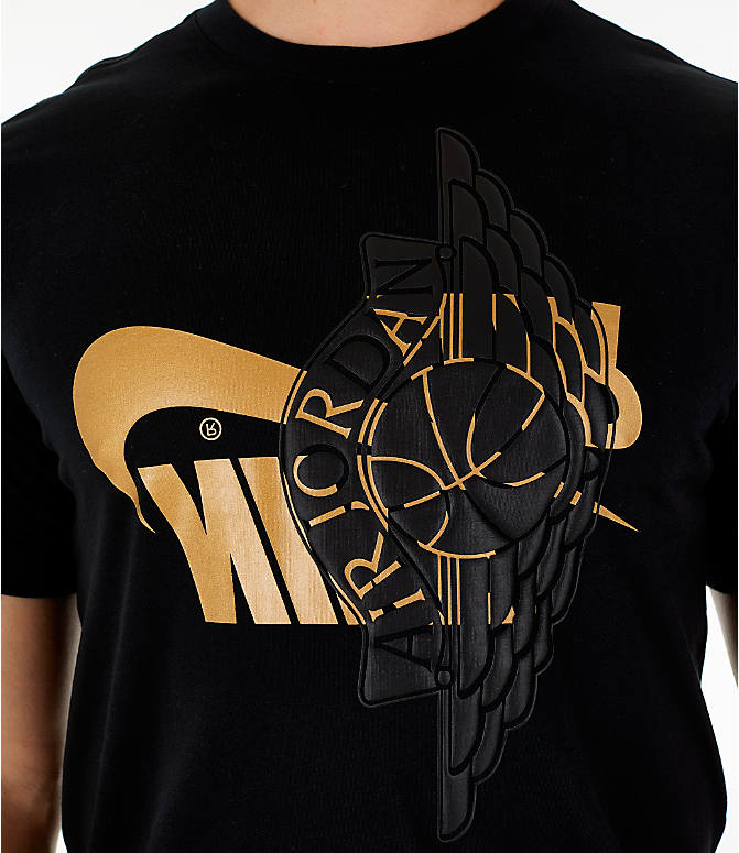 c5dbfa66338952 Detail 2 view of Men s Jordan Futura Wings T-Shirt in Black Metallic Gold
