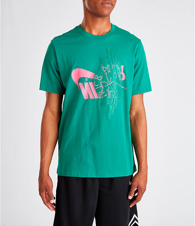Front view of Men's Jordan Futura Wings T-Shirt in Mystic Green