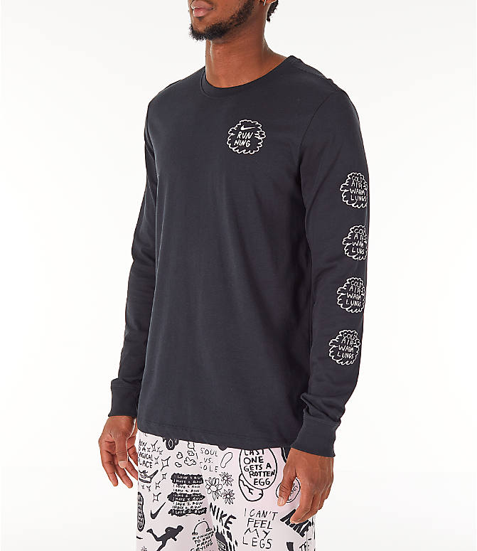 Front view of Men's Nike Dri-FIT Nathan Bell Long-Sleeve Running T-Shirt in Black