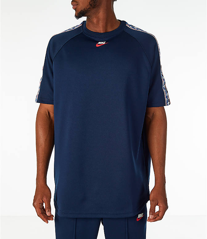Front view of Men's Nike Sportswear Taped Short-Sleeve Shirt