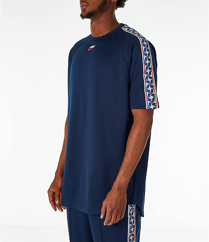 Front Three Quarter view of Men's Nike Sportswear Taped Short-Sleeve Shirt
