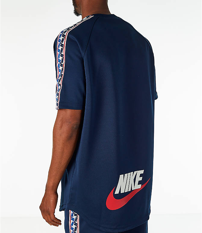 Back Left view of Men's Nike Sportswear Taped Short-Sleeve Shirt