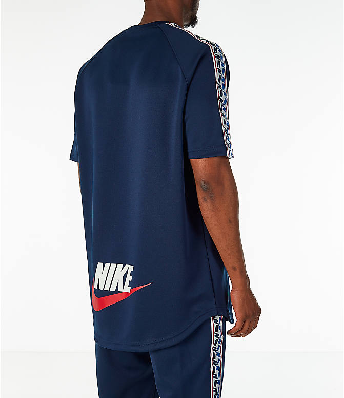 Back Right view of Men's Nike Sportswear Taped Short-Sleeve Shirt