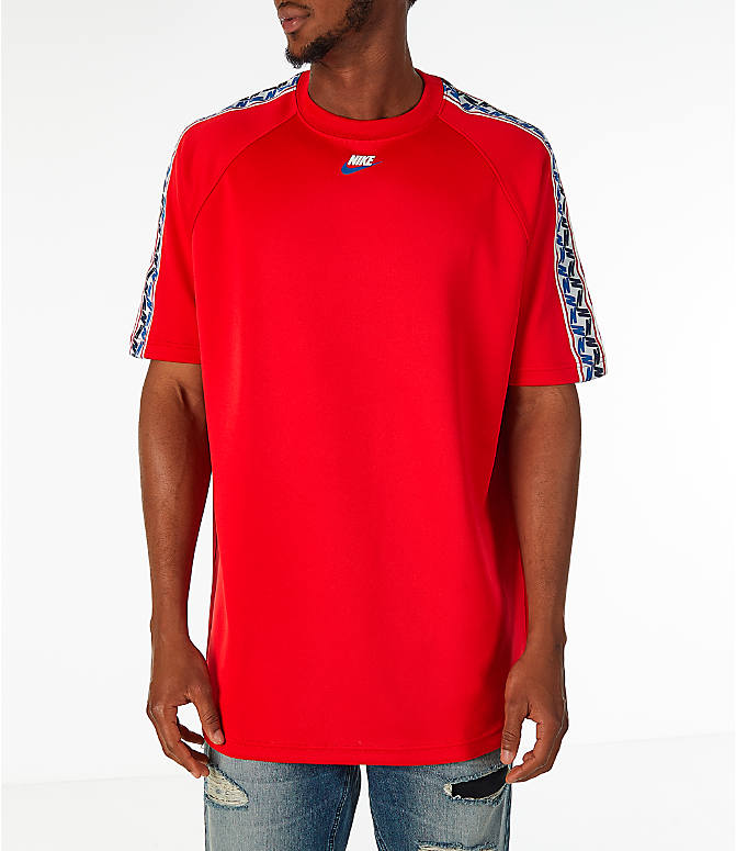 Front view of Men's Nike Sportswear Taped Short-Sleeve Shirt in Gym Red