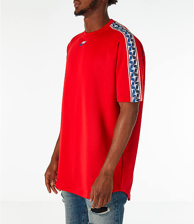 Front Three Quarter view of Men's Nike Sportswear Taped Short-Sleeve Shirt in Gym Red