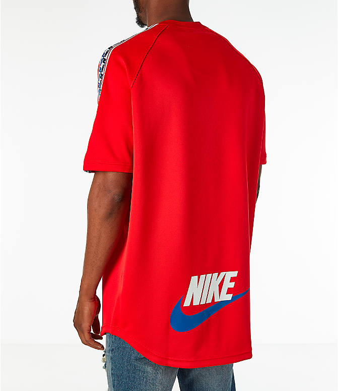 Back Left view of Men's Nike Sportswear Taped Short-Sleeve Shirt in Gym Red