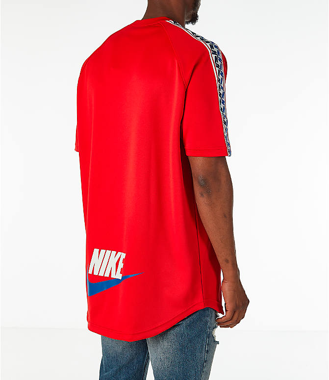 Back Right view of Men's Nike Sportswear Taped Short-Sleeve Shirt in Gym Red
