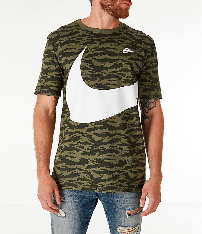 Front view of Men's Nike Sportswear Vaporwave T-Shirt in Medium Olive/Black