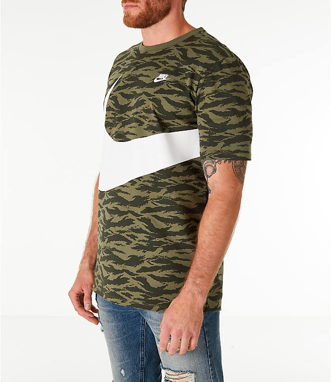 Front Three Quarter view of Men's Nike Sportswear Vaporwave T-Shirt in Medium Olive/Black