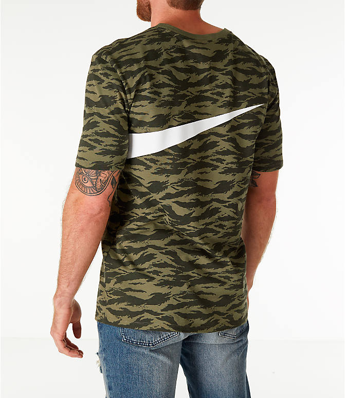 Back Left view of Men's Nike Sportswear Vaporwave T-Shirt in Medium Olive/Black