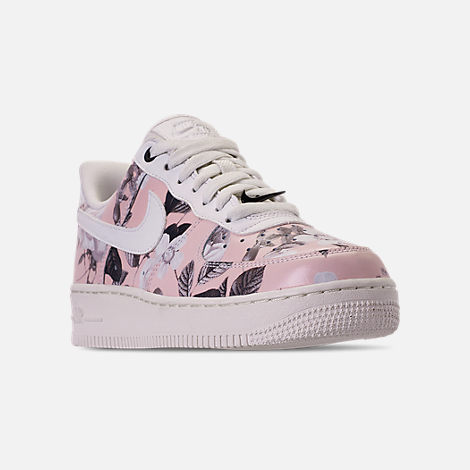 Three Quarter view of Women's Nike Air Force 1 '07 LXX Casual Shoes in Summit White/Black/Pale Pink