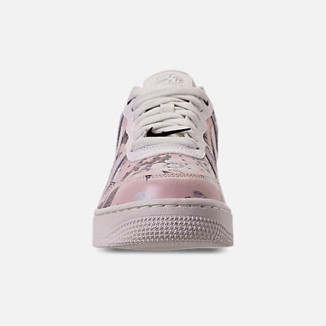 Front view of Women's Nike Air Force 1 '07 LXX Casual Shoes in Summit White/Black/Pale Pink