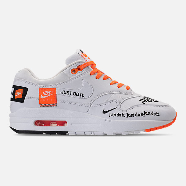 Right view of Men's Nike Air Max 1 SE JDI Casual Shoes in White/Total Orange