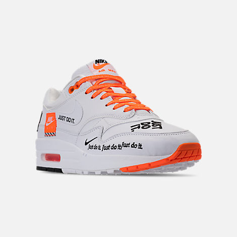 Three Quarter view of Men's Nike Air Max 1 SE JDI Casual Shoes in White/Total Orange