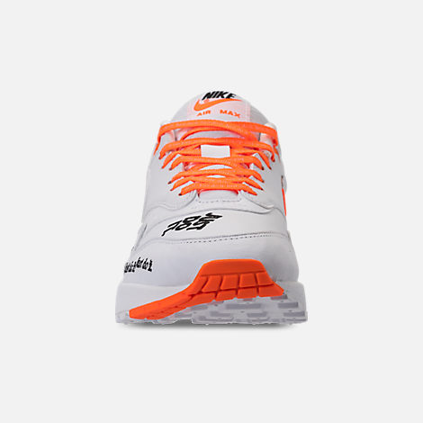 Front view of Men's Nike Air Max 1 SE JDI Casual Shoes in White/Total Orange