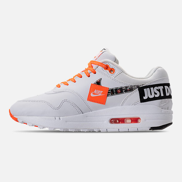 Left view of Men's Nike Air Max 1 SE JDI Casual Shoes in White/Total Orange