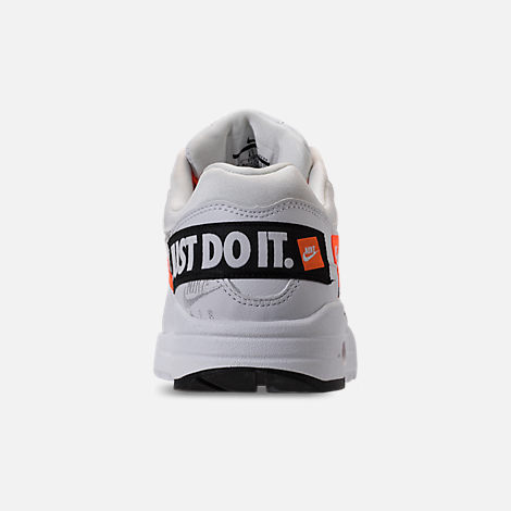 Back view of Men's Nike Air Max 1 SE JDI Casual Shoes in White/Total Orange