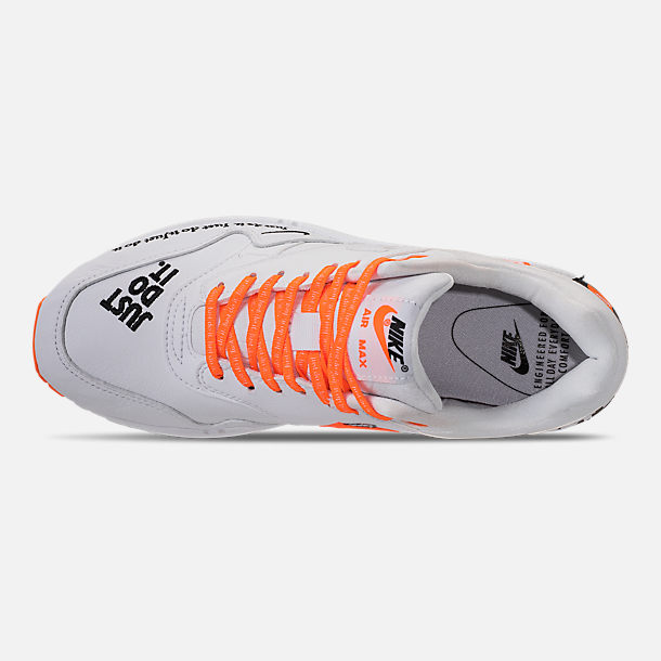 Top view of Men's Nike Air Max 1 SE JDI Casual Shoes in White/Total Orange