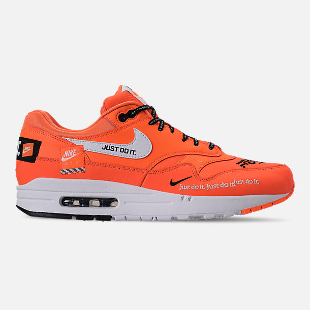 Right view of Men's Nike Air Max 1 SE JDI Casual Shoes in Total Orange/White/Black