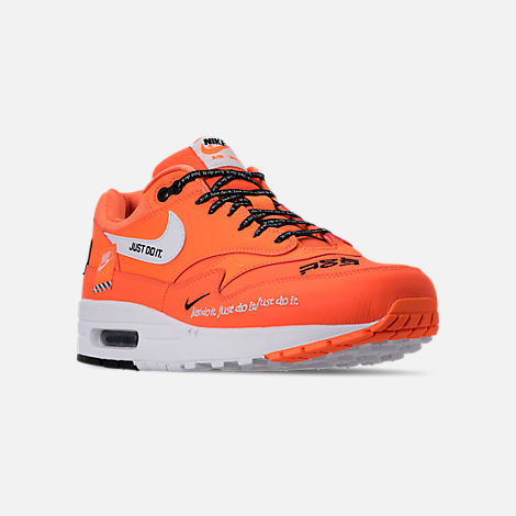 Three Quarter view of Men's Nike Air Max 1 SE JDI Casual Shoes in Total Orange/White/Black