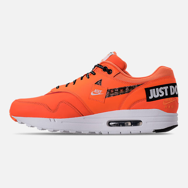 Left view of Men's Nike Air Max 1 SE JDI Casual Shoes in Total Orange/White/Black