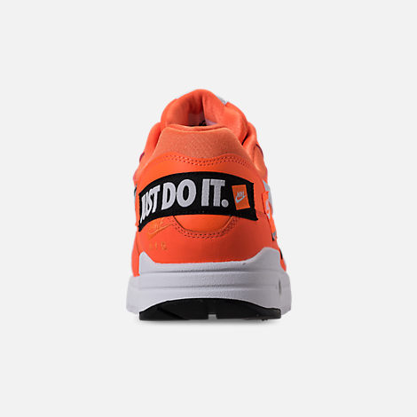 Back view of Men's Nike Air Max 1 SE JDI Casual Shoes in Total Orange/White/Black