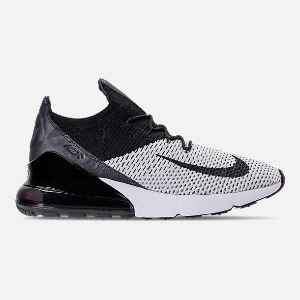 Right view of Men's Nike Air Max 270 Flyknit Casual Shoes in White/Black/