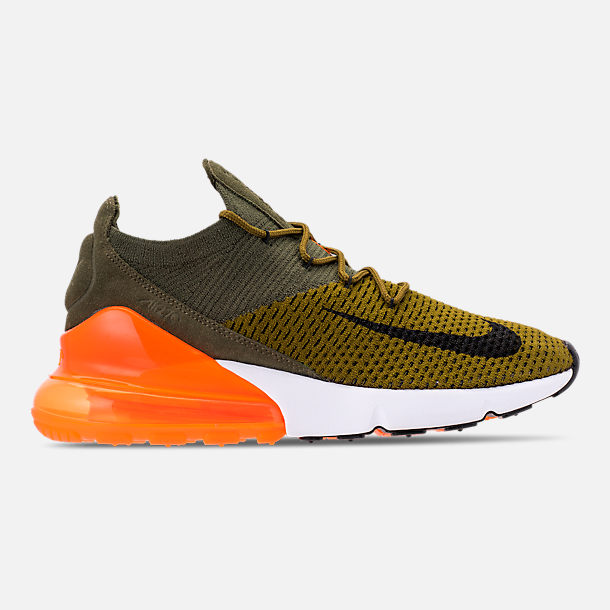 89fa9ea7dda Right view of Men s Nike Air Max 270 Flyknit Casual Shoes in Olive  Flak Black