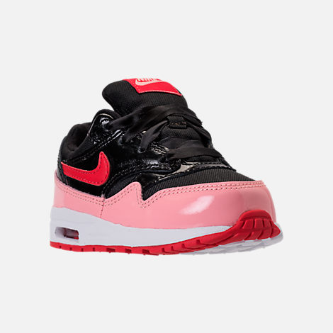 Three Quarter view of Girls' Toddler Nike Air Max 1 Heart Casual Shoes in Black/Anthracite/Cool Grey/White