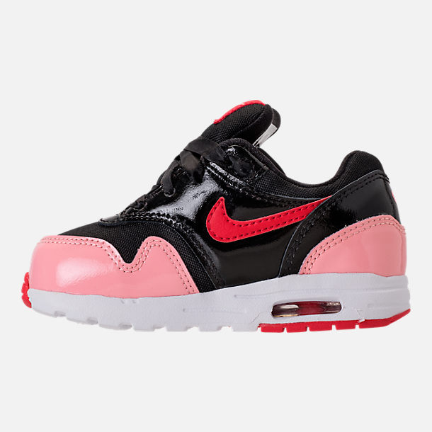 Left view of Girls' Toddler Nike Air Max 1 Heart Casual Shoes in Black/Anthracite/Cool Grey/White