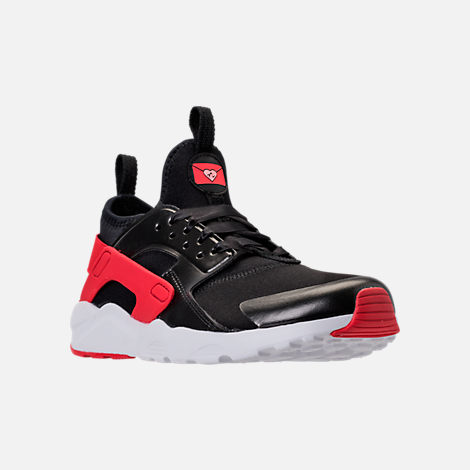 Three Quarter view of Girls' Preschool Nike Air Huarache Run Ultra Heart Casual Shoes in Black/Sunblush/Arctic Pink