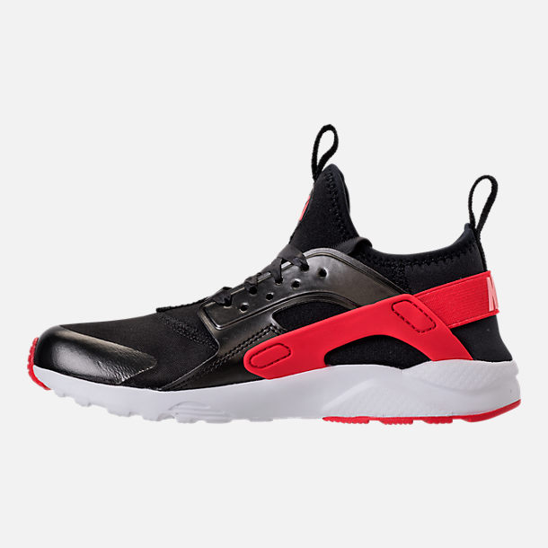 Left view of Girls' Preschool Nike Air Huarache Run Ultra Heart Casual Shoes in Black/Sunblush/Arctic Pink