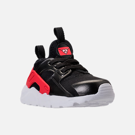 Three Quarter view of Girls' Toddler Nike Air Huarache Run Ultra Heart Casual Shoes in Black/Sunblush/Arctic Pink