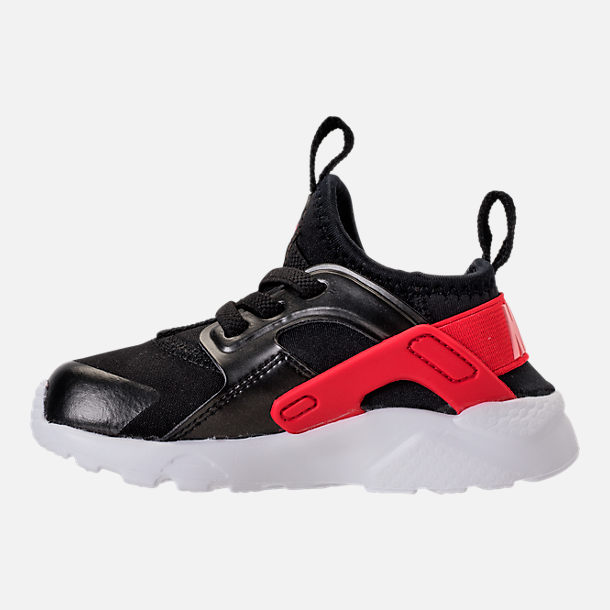 Left view of Girls' Toddler Nike Air Huarache Run Ultra Heart Casual Shoes in Black/Sunblush/Arctic Pink