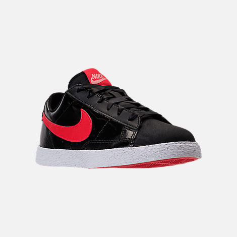 Three Quarter view of Girls' Preschool Nike Blazer Heart Casual Shoes in Black/Speed Red/Bleached Coral